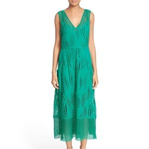 Tracy Reese Green Embroidered Ramie Eyelet Dress